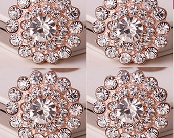 4 Flat Back Rhinestone and Pearl Button (22mm) DT-005