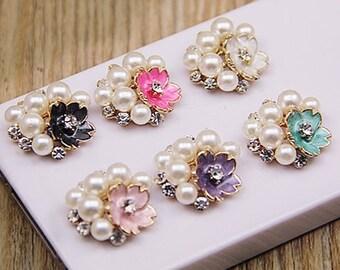 6 Rhinestone Pearl Flower Embllishment Accessories (20x20 mm) DT-123-01