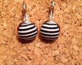 Fabric Covered Black and White Stripe Drop Earring ***Reserved***