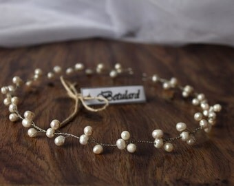 Fresh Water Pearl Bridal Hair Vine Headband