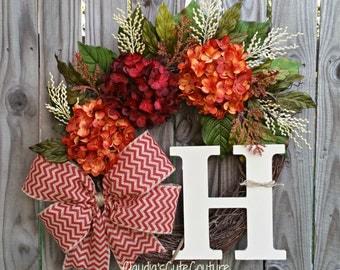 Wreath,Fall Wreath,Hydrangea Wreath,Monogrammed Wreath,Summer Wreath,Autumn Wreath,Door Decoration, Wreath for Door,Front Door Wreath