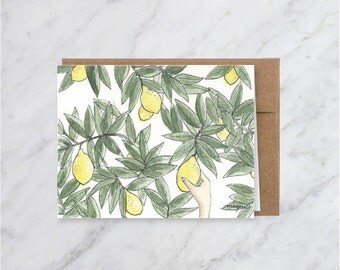 Lemon Tree Blank Greeting Card- Watercolor Illustration
