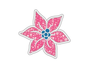 Tropical Flower Applique Embroidery Machine Design