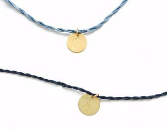 Initial silk bracelets, 2 delicate friendship bracelets, gold dot pendant, personalized jewelry, letter bracelet, wish bracelet
