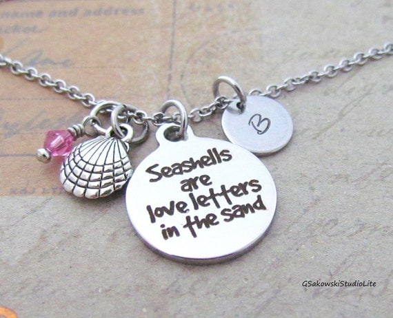 love letters in the sand seashells are letters in the sand shell charm necklace 33233