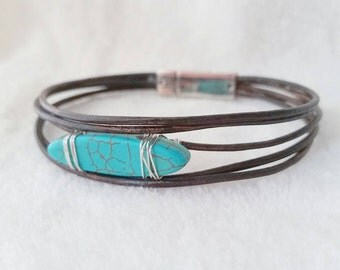 Turquoise leather bracelet - boho leather wrap bracelet - turquoise stone - brown leather wrap - bohemian - layered bracelet - leather wrap