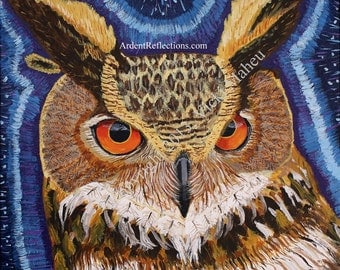 Owl Art, Owl Painting, Owl print, wild bird art, print of an owl, owl kids decor,owl giclee print,owl home decor,owl art for home, Item #WP1
