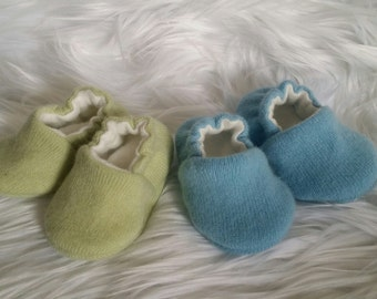 Cashmere Celery Green or Light Blue Upcycled Crib shoes, Cashmere Baby Shoes with Organic Fleece Lining, Cashmere Baby Moccs,  Baby Gift,