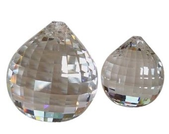 2pc Set Clear Disco Ball Chandelier Crystals Asfour Faceted Prism 40mm & 30mm