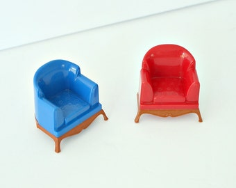 1950s 1960s Plastic Dollhouse Arm Chairs - Blue and Red