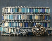 snowflake wrap bracelet- blue and silver on silver leather - holiday jewelry - winter fashion - beaded leather - Christmas jewelry