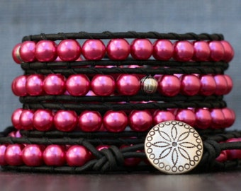 READY TO SHIP wrap bracelet- cranberry raspberry pink glass pearls and silver spacers on black leather - beaded leather - boho bohemian