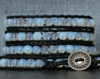 moonstone bracelet- opalite glass beads on black leather - opal - boho gypsy bohemian beach yoga