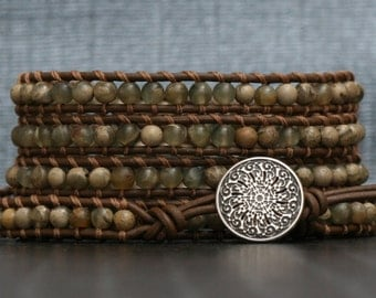 wrap bracelet- tan sediment jasper on chocolate brown leather- beaded leather - gypsy bohemian boho - mens or womens