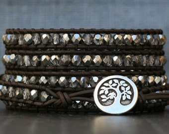 wrap bracelet- sterling crystal on black brown leather - boho glam gypsy bohemian - silver grey