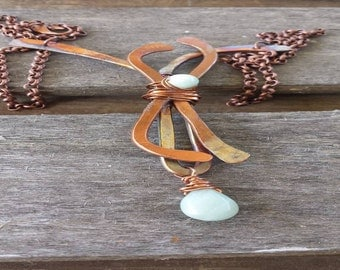 Hand Forged Copper Necklace with Amazonite