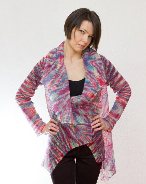 Knitting Cardigan Tutorial : Knitting pattern women cardigan convertible star