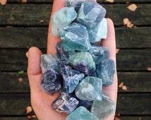 TWO pieces - Rainbow fluorite, purple fluorite, green fluorite