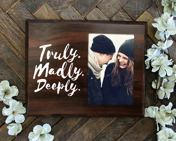 Wedding Shower Gifts For Her: Truly Madly Deeply Picture Frame Gift For Her Gift For Him