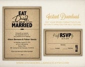 DIY Printable Wedding Invitation Template, Easy DIY Printable, Microsoft Word Invitation, Instant Download, Eat Drink Be and Married (ID1)