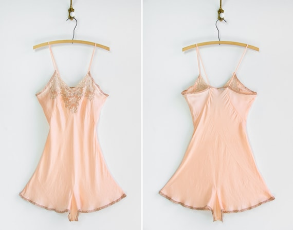 vintage 1930s silk slip step in | 30s bias cut peach silk chemise | 1920s 1930s lingerie