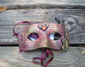 Rock N Roll mask, Red Brick, Costume mask, one of a kind, Mardi Gras Mask, Masquerade ball, hand painted, red and gold colors