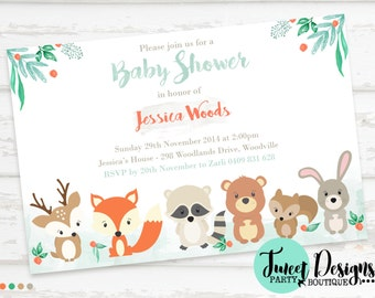 WOODLAND BABY SHOWER Invitation, Watercolor Woodland Invitation, Woodland Forest Animals Invitation,Woodland Animals Baby Shower Invitations