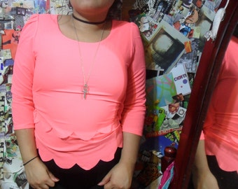 Bright Salmon Pink Scallop-Detailed Blouse