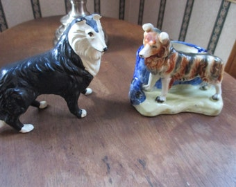 choice of Vintage collie planter and figurine black white brown dog