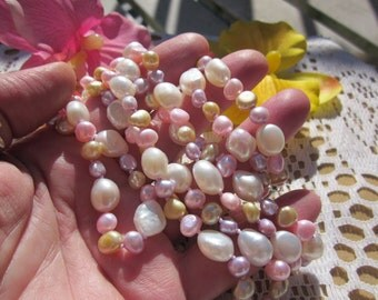 """Gift for Her! Extra long (53"""") multicolor pastel cultured FRESHWATER & baroque PEARL necklace."""