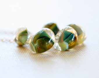 Gold Filled Necklace, Lampwork Glass, Dewdrop Necklace, Green and Yellow