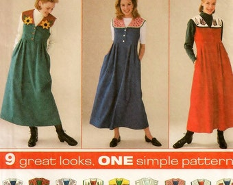 A Raised Waist, Full Pleated Skirt, Midi Jumper Pattern with Button-On Collar Variations for Women: Uncut - Sizes 12-14-16 ~ Simplicity 7316