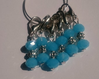 Blue Beaded Stitch Markers for Crochet