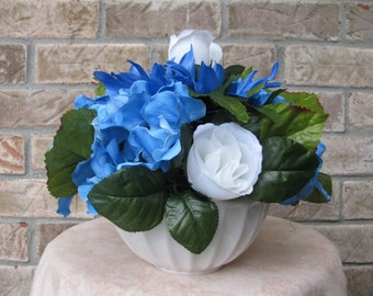 Blue Floral Arrangement, White Floral Arrangement, Rose Floral Arrangement, Spring Floral Arrangement, Summer Floral Arrangement, Home Decor