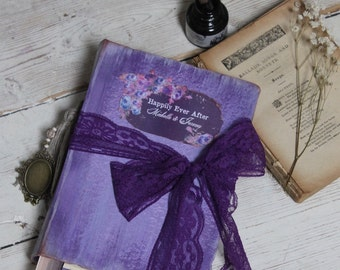 Lilac Purple wedding guest book, vintage style wedding scrapbook, photo album - made to order 9x6''