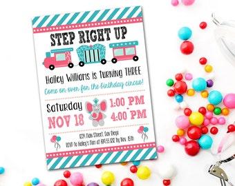 Animal Circus Birthday Invitation, Carnival Birthday, Printable, Baby Shower, Elephant, Invitations, Invite, Invites, Pink Blue