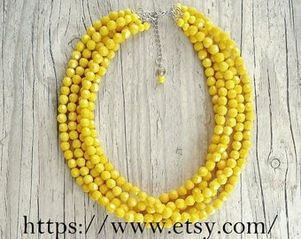 Five strand yellow necklace,Bright Yellow necklace,Yellow bridesmaid necklace,chunky yellow necklace,Beaded statement multistrand necklace