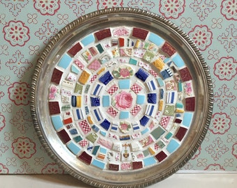Vintage Broken China Mosaic Serving Platter