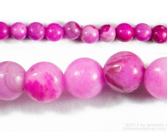 "Pink Agate Beads 4mm Round - Pink Gemstone Beads 4mm ""Crazy Lace"" Pattern - Sold per 16"" Strand of Apx 100 Beads - Ships from USA B112"
