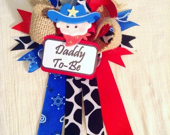 Daddy-to-be cowboy corsage // Western baby shower // Cowboy Baby Shower corsage