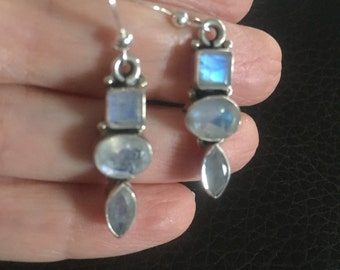 Wonderful Blue Flash Moonstone & Sterling Silver Earrings