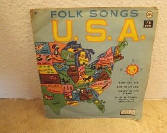 Folk Songs U.S.A.  78 rpm Record