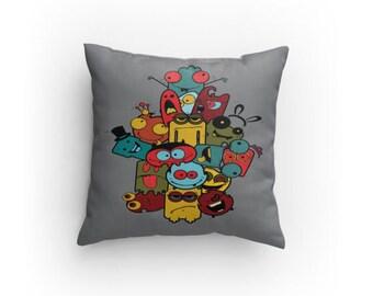 Gray Monsters Designer Pillow