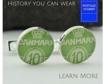 Danish Cuff Links for Men.  Handmade Vintage Danish Postage Stamp Cufflinks (Cuff Links) - Danmark 1950 - Handmade Green Cufflinks
