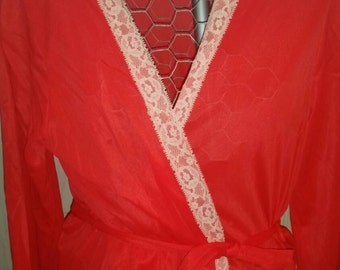 Vintage Nightgown - Red Nightgown Wrap around Fredericks of Hollywood Medium