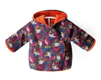 Handmade Hooded Baby and Toddlers Jacket made of cotton. Light and cozy coat with fleece with flowers. Sizes NB -> 4T - POMY - Alua Liulé