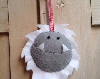 Hanging Felt Yeti/ Monster face