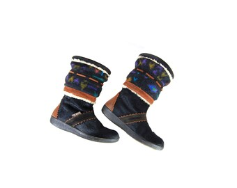 Size 7 Black Winter Boots with Navajo Print Felt Rim by Tecnica // G465