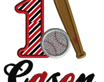 Birthday embroidery, baseball and bat with letter one, baseball applique, 1st birthday design, machine embroidery, 2 sizes