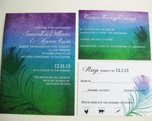 Ombre Peacock Downloadable Wedding Stationery Suite: DCo Lovenotes